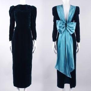 M/L Vintage 70s 80s Velvet Cocktail Maxi Dress
